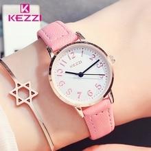 2017 Moda KEZZI Encantadores Niños Relojes de Las Niñas Diario de Dibujos Animados de Cuero Impermeable Reloj de pulsera de Cuarzo Relojes de Pulsera Para Niñas k1564