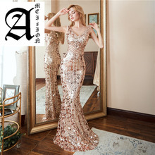 Ameision Evening Dress 2019 Elegant Slim Sleeveless Mermaid Formal party dresses Luxury Long Sequin prom gowns reflective dress