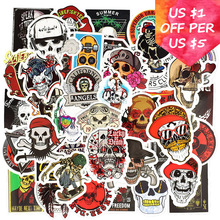 50Pcs Rock Skeleton Stickers For Suitcase Skateboard Laptop Phone Motorcycle Bicycle Car Accessories Mixed Punk Skull