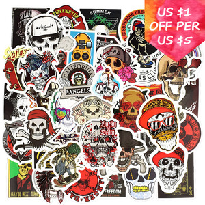 50Pcs Rock Skeleton Stickers For Suitcase Skateboard Laptop Phone Motorcycle Bicycle Car Accessories Mixed Punk Skull Stickers(China)