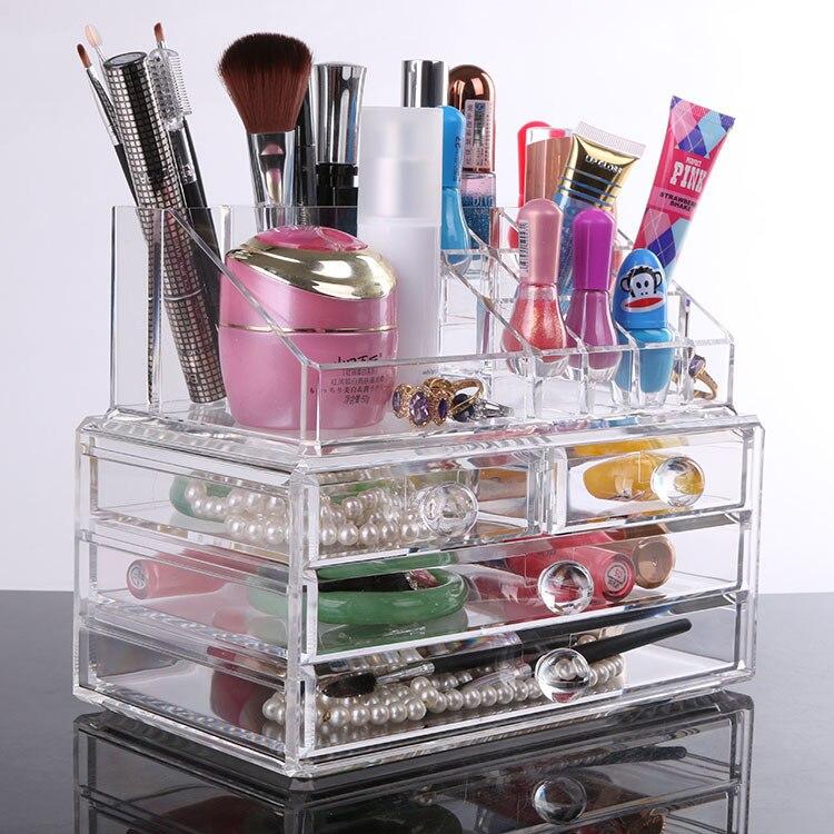 Le populaire 2015 bureau fournitures de bureau papeterie bijoux ornements petites boîtes transparentes de cosmétiques recevoir un étui