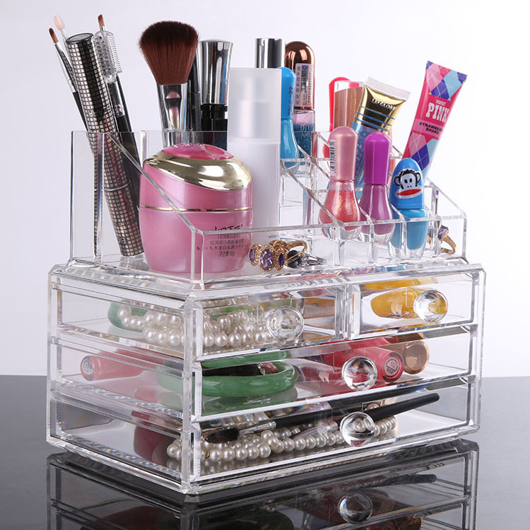 The Popular 2015 desktop office supplies stationery jewelry ornaments small transparent boxes of cosmetics receive a case