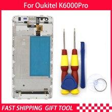 新しいオリジナルタッチスクリーンlcdディスプレイoukitel K6000 プロデジタイザアセンブリフレーム交換部品 + 逆アセンブルツール