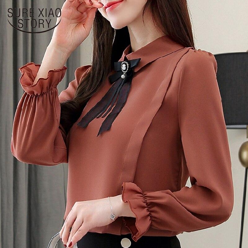 Chiffon women   blouses     shirts   plus size blusas mujer de moda 2019 office lady   blouse   flare long sleeve feminine clothes 1746 50