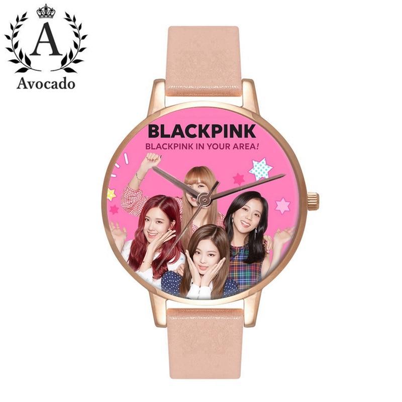 Avocado BLACKPINK Watch Female Ladies Girl Clock Pink Leather Strap Fan Commemorative Gift Women's Quartz Watch