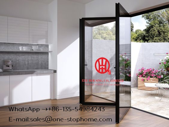 Double/Triple Glazing Tempered Glass Door, Bi-Folding Aluminum Alloy Sheet Patio Door, High Quality Folding Door