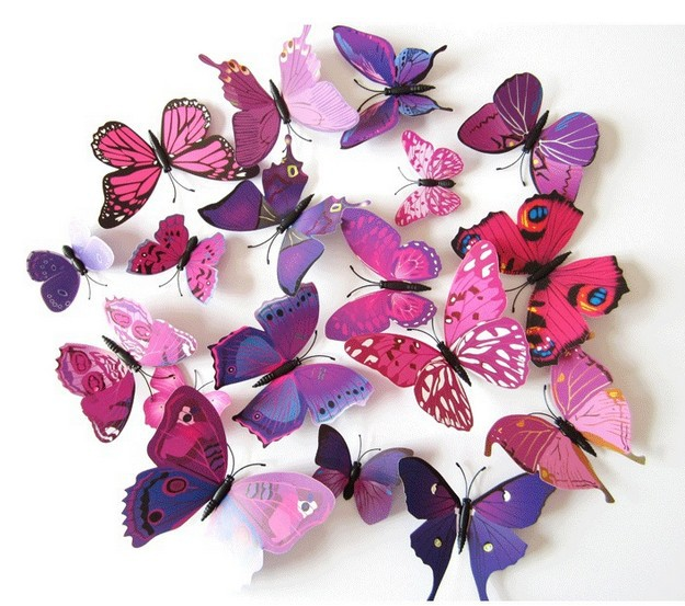 2016 New 12pcs/pack 3D Butterfly Wall Stickers Butterflies Decal Art DIY Decorations Paper ...