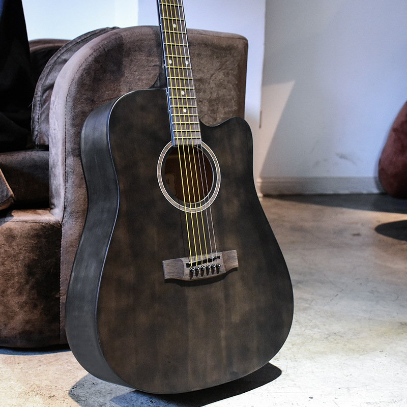 Guitare guitariste 40 41 pouces guitare acoustique bois d'acajou finition brillante touche palissandre guitarra avec cordes de guitare
