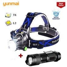 yunmai Rechargeable Headlamp 10000lum T6/L2 Zoom Headlight Waterproof Head Lamp Torch Flashlight Head lamp use 2*18650 battery