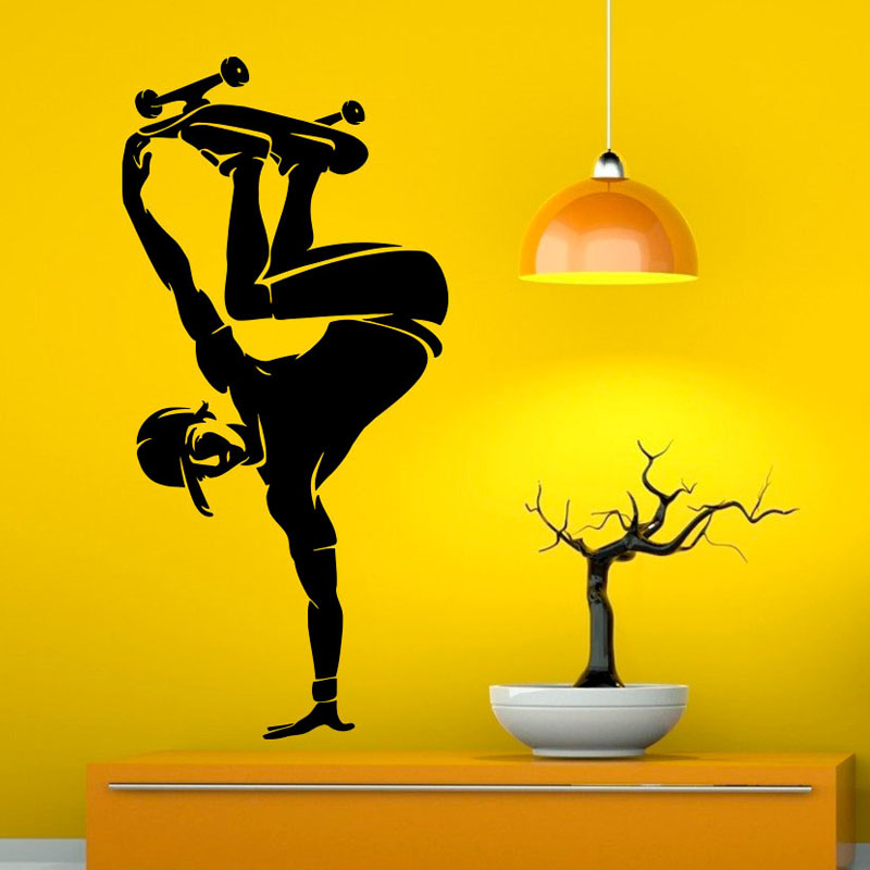 ZOOYOO Skate Wall Decals Skateboard Living Room Wall Stickers Home ...