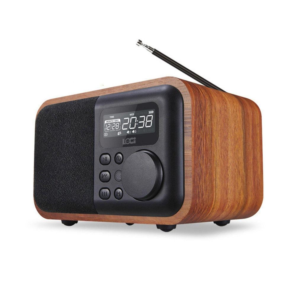 D90 Sans Fil En Bois enceinte portable bluetooth Alarme U disque Carte petit Haut-Parleur Subwoofer Rétro musique Radio
