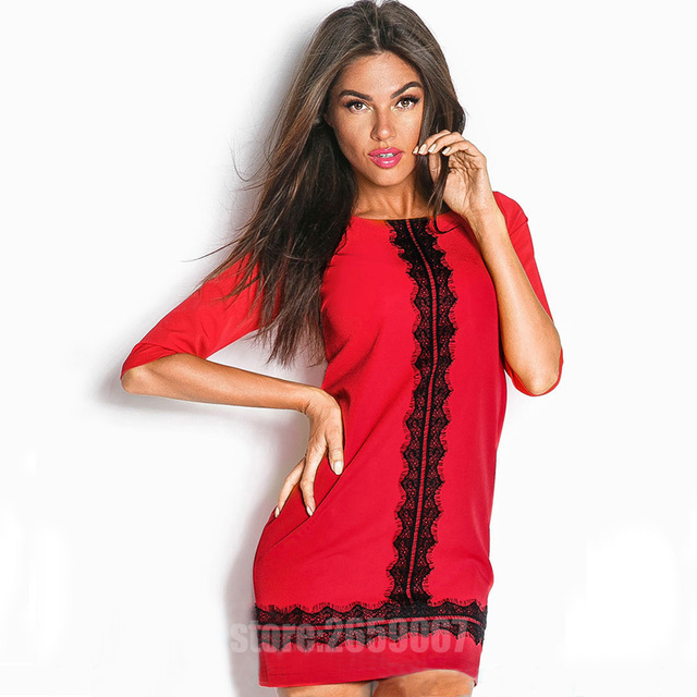 2019 Woman Fashion Lace Stitching Loose Straight Spring Summer Dress O-neck Half-sleeves Casual Dresses Ukrai Work Wear