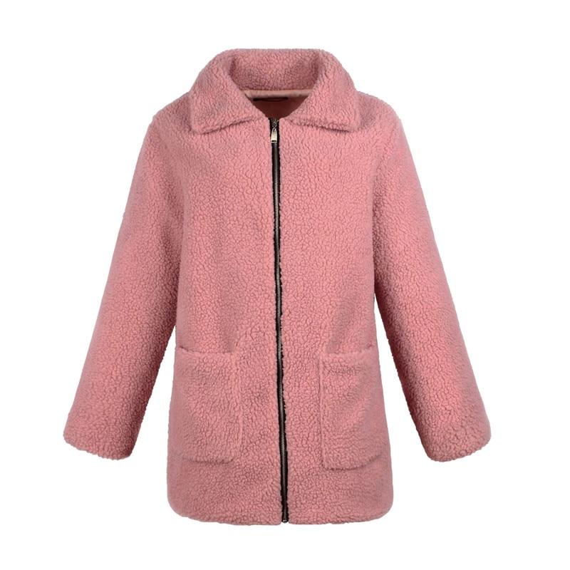 Europe and the United States street photo lapel imitation fur plush coat multi-color long wool coat (16)