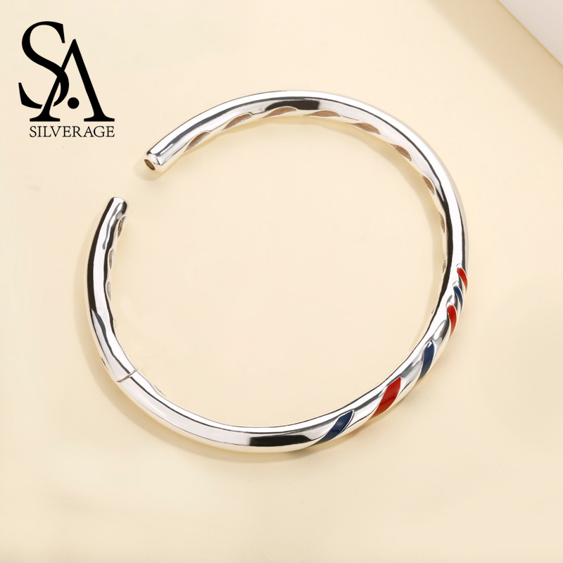 SA SILVERAGE Real 925 Sterling Silver Adjustable Cuff Bracelets Red Blue Stripes Open Bangles For Women