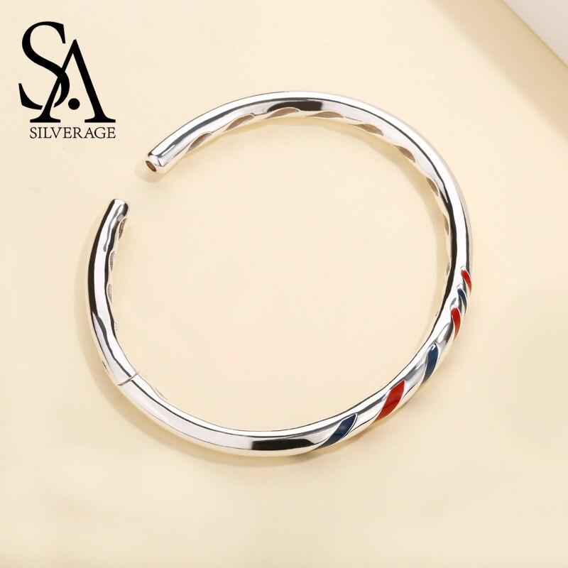 SA SILVERAGE prawdziwe 925 Sterling Silver regulowany mankiet bransoletki czerwone i niebieskie paski otwarte bransoletki typu bangle dla kobiet biżuteria prezent w Bransoletki i obręcze od Biżuteria i akcesoria na  Grupa 1