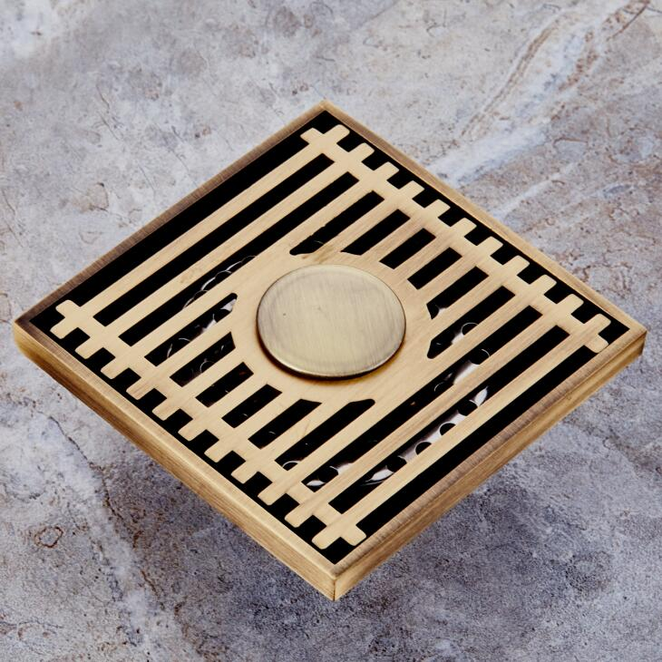 BECOLA Four Square Brass Drain The Floor Drain, Kitchen