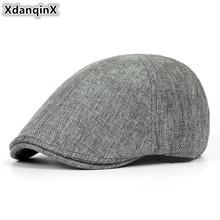 XdanqinX lato Retro męska czapka ultra-cienkie oddychające berety dla mężczyzn kobiety eleganckie damskie kaszkiety Beret panie para kapelusz nowy tanie tanio Dla dorosłych Unisex Poliester Pościel Size 55-60cm Stałe Na co dzień Summer Ultra-thin breathable