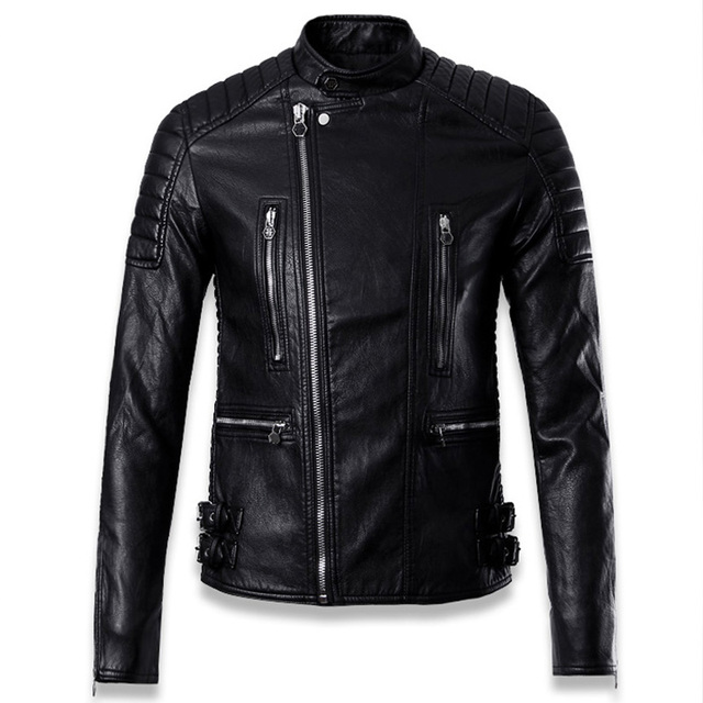 Designer Vintage China Men's Automotive Leather Jackets Streetwear 2017 Autumn Winter Biker Leather Jacket Italian Style C014