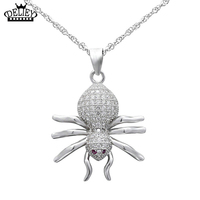 DELIEY 100 Genuine 925 Sterling Silver Fashion Design Spider Insect Pendan Necklace For Women Fine Jewelry