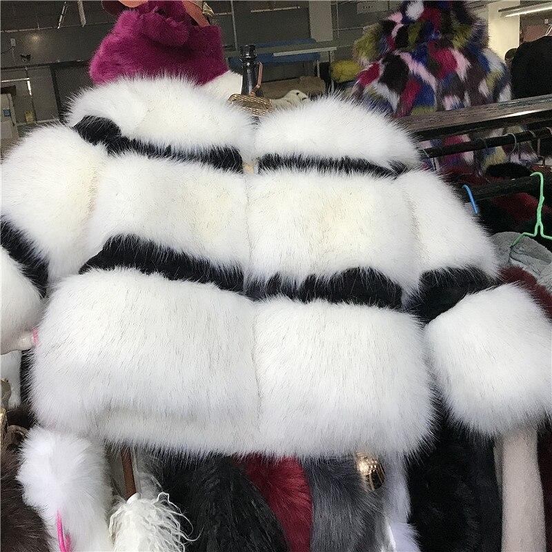 Blanc Fourrure Patch Renard Noir Filles En Vestes Mode Et Cheveux Manteaux Base Automne Lady Fausse Manteau Épaissie Hiver Femmes Court De AAarqw7