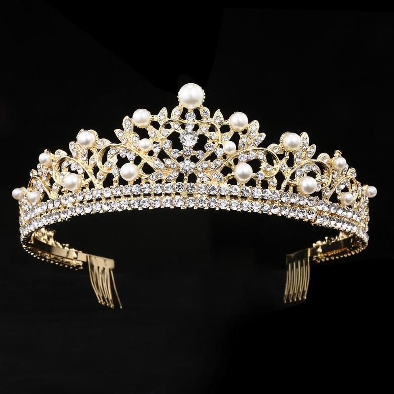 Crystal Tiara With combs Princess Crown wedding Hair Accessories bridal headbands Diadem jewelry Birthday Gift