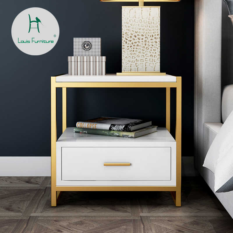 Louis Fashion Nightstands Bedside cabinet iron art simple modern simple bedroom bedside accommodation mini storage