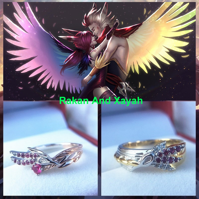 LoL Rakan And Xayah Couple Rings for women men ring sliver S925 jewelry gifts for girls girlfriend boyfriend lovers present