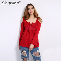 Singwing Plus Size Women Casual Blouse Off Shoulder Long Sleeve Strapless Shirt Solid Color O Neck