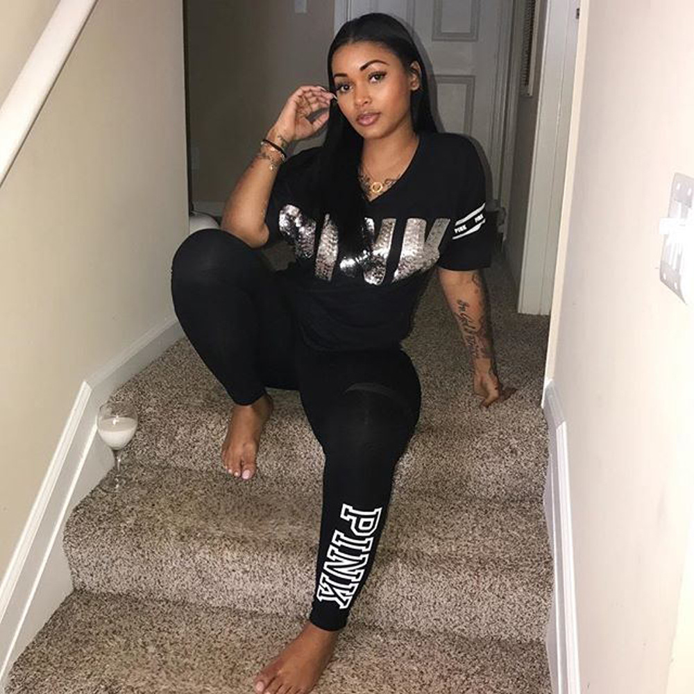 2018 Womens Tracksuit Sets Sexy Casual black V Neck 2 Piece Short Sleeve Letter Print Jogger Plus Size Summer Sweatpants S-3XL