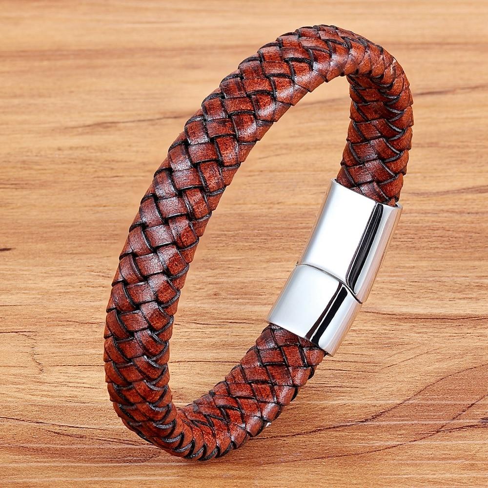 TYO Minimalist Braided Non-Fading Anti-allergy Genuine Leather Bracelet & Bangle For Men Accessories Jewelry Pulseiras Masculina