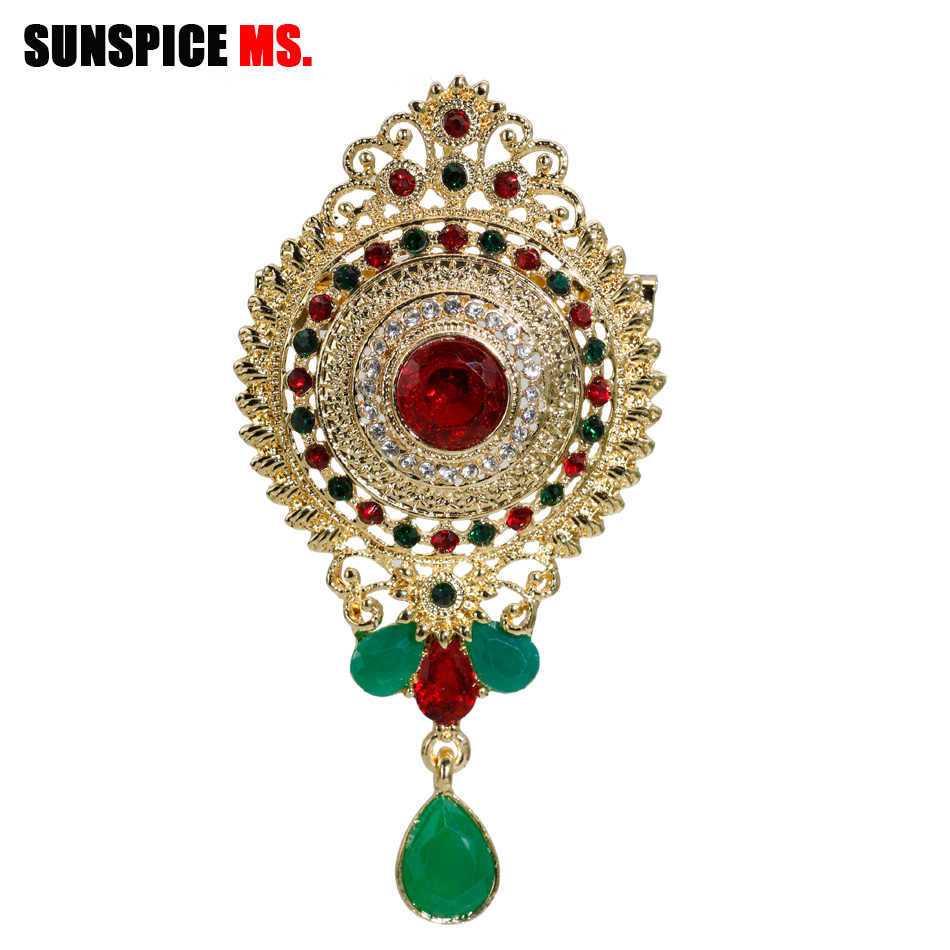 SUNSPICE MS Retro Vintage Caucasus Ethnic Women Brooch Pins Gold Color Round Crystal Hijab Scarf Corsage Morocco Wedding Jewelry