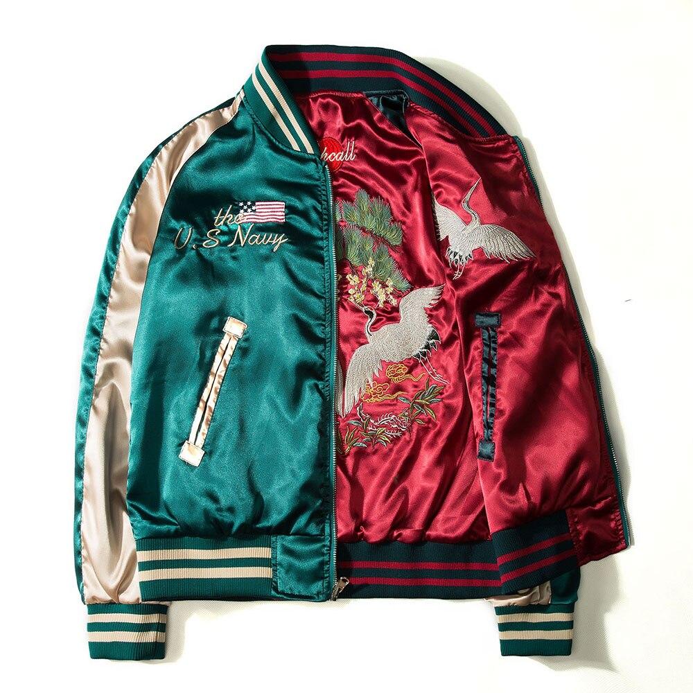 2020 Japan Yokosuka Embroidery Jacket Men Women Fashion Vintage Baseball Uniform Both Sides Wear Kanye West Bomber Jackets