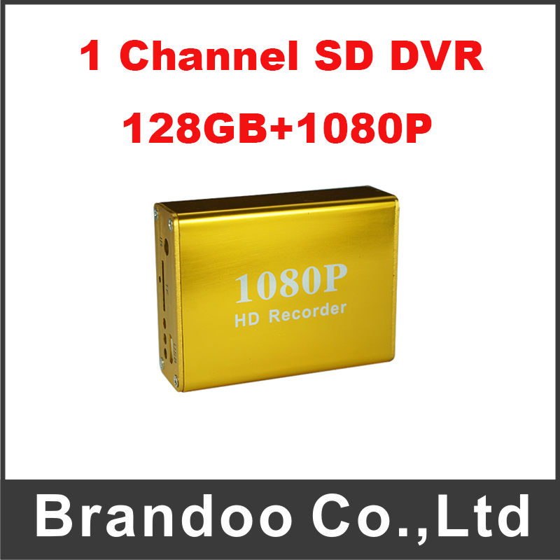 1 Channel 1080P SD DVR Support 128GB SD Card Golden Color For Car Bus Taxi Security