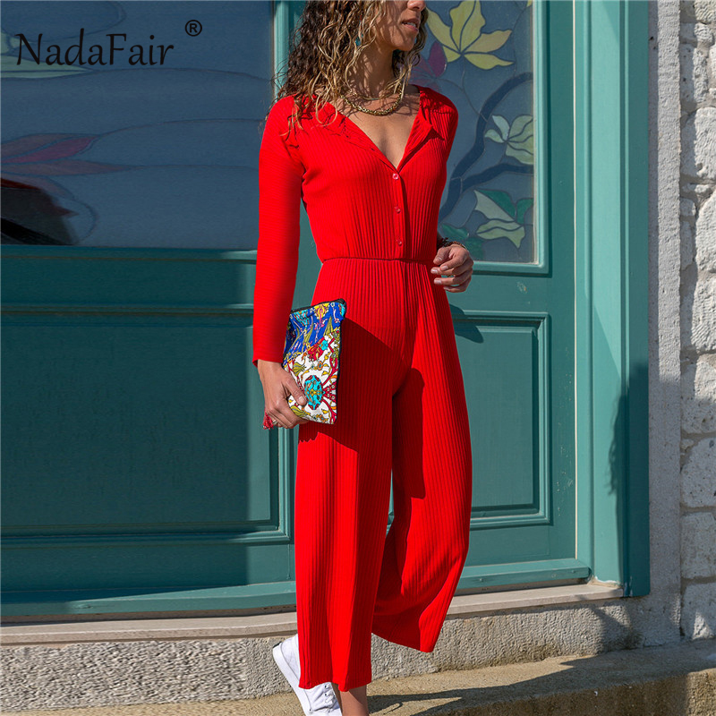 856ef676bf8 Nadafair V Neck Slim Button Wide Leg Pants Jumpsuit for Women 2018 Autumn  Winter Casual Long