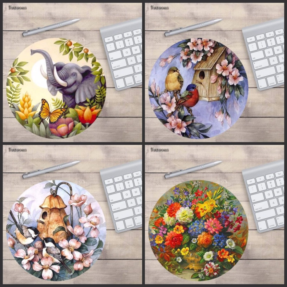 Yuzuoan Bird/Elephant /flower Printing Non-skid Cloth&rubber Round Optional Sizes Mat For Computer Gaming Mouse Pads For LOL