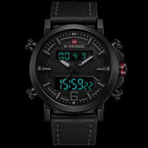 Image 2 - 2019 Naviforce Nieuwe Mannen Mode Sport Horloge Mannen Lederen Waterdichte Quartz Horloges Mannelijke Datum Led Analoge Klok Relogio Masculino