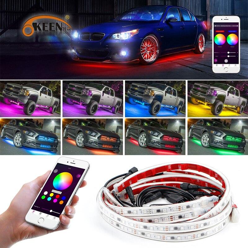 OKEEN Téléphone App Contrôle 60/150 cm Voiture RGB LED Bande LED Sous Châssis Glow Underbody Système Neon Light étanche Auto Car Styling