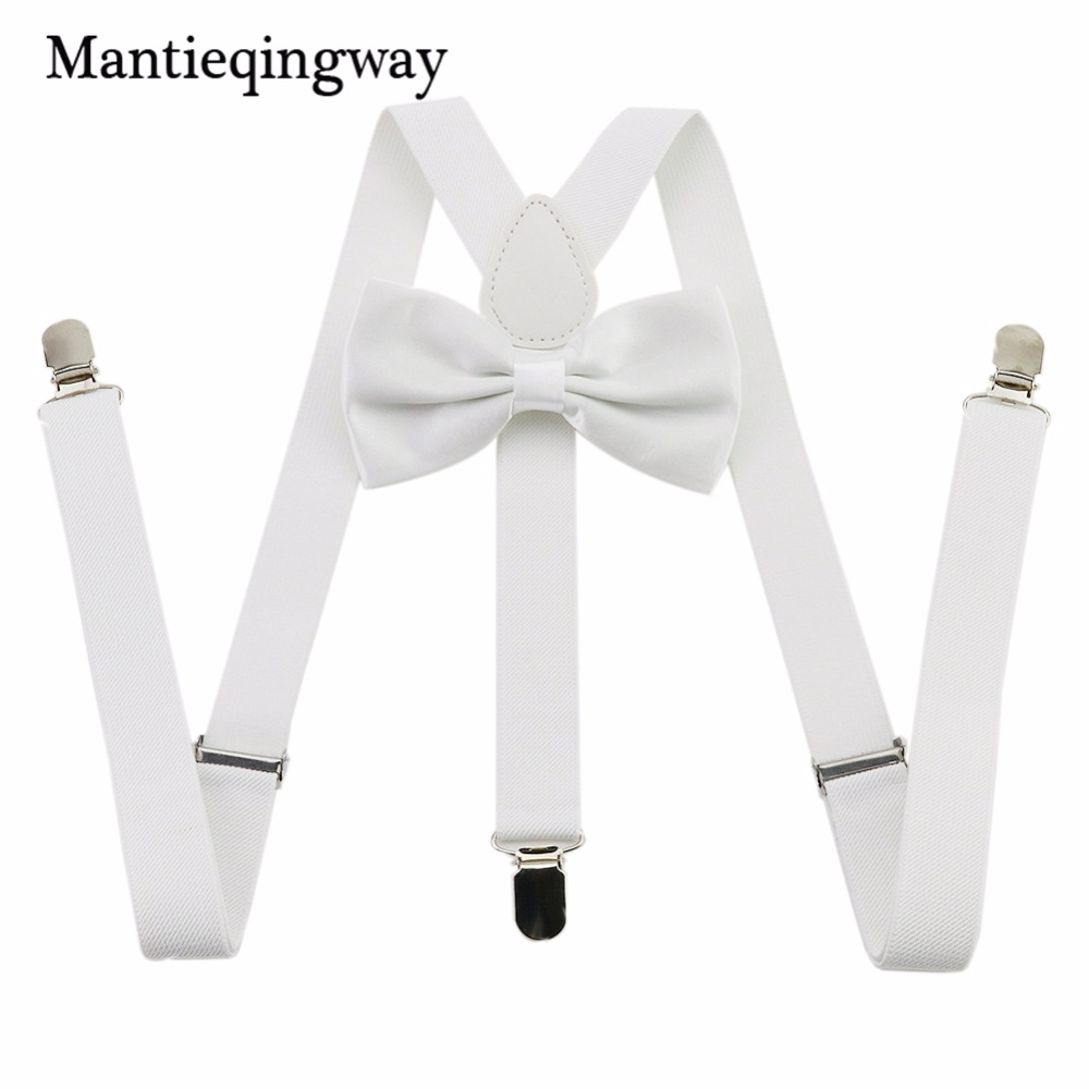 Mantieqingway 20 PCS/Lot Adult 3 Clip-on Y Back Elastic Suspenders Bowtie Set Suspender Braces Bow Tie Brace Belt Strap For Mens