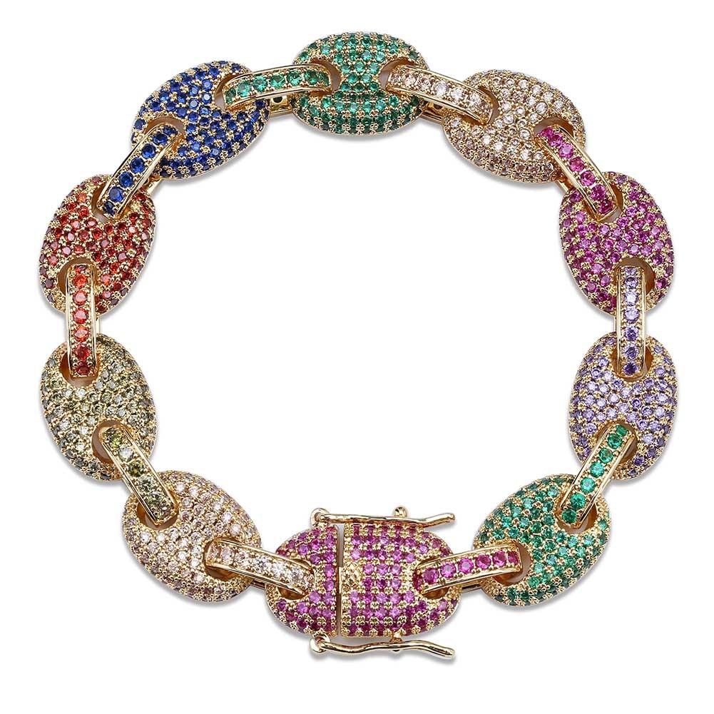 Bracelet à maillons marins en Zircon cubique de couleur mélangée Bling bijoux Hip Hop pour hommes 24 K cuivre glacé chaîne cubaine 18
