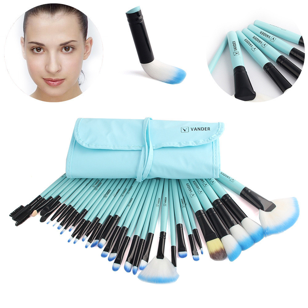 1 Set/32 PCS Wood Makeup Brush Set Eyebrow Eyeshadow Makeup Cosmetic Tools Beauty Powder Foundation Brushes bob cosmetic makeup powder w puff mirror ivory white 02