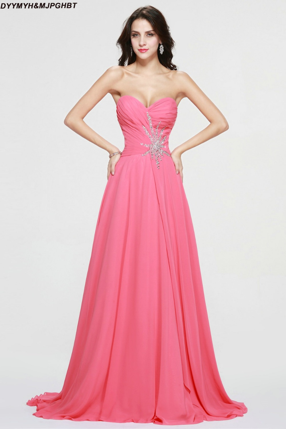 Aliexpress buy afforable hot pink maid of honor gowns aliexpress buy afforable hot pink maid of honor gowns sweetheart with pleatbeads peach long bridesmaid dresses under 100 from reliable maid of honor ombrellifo Gallery