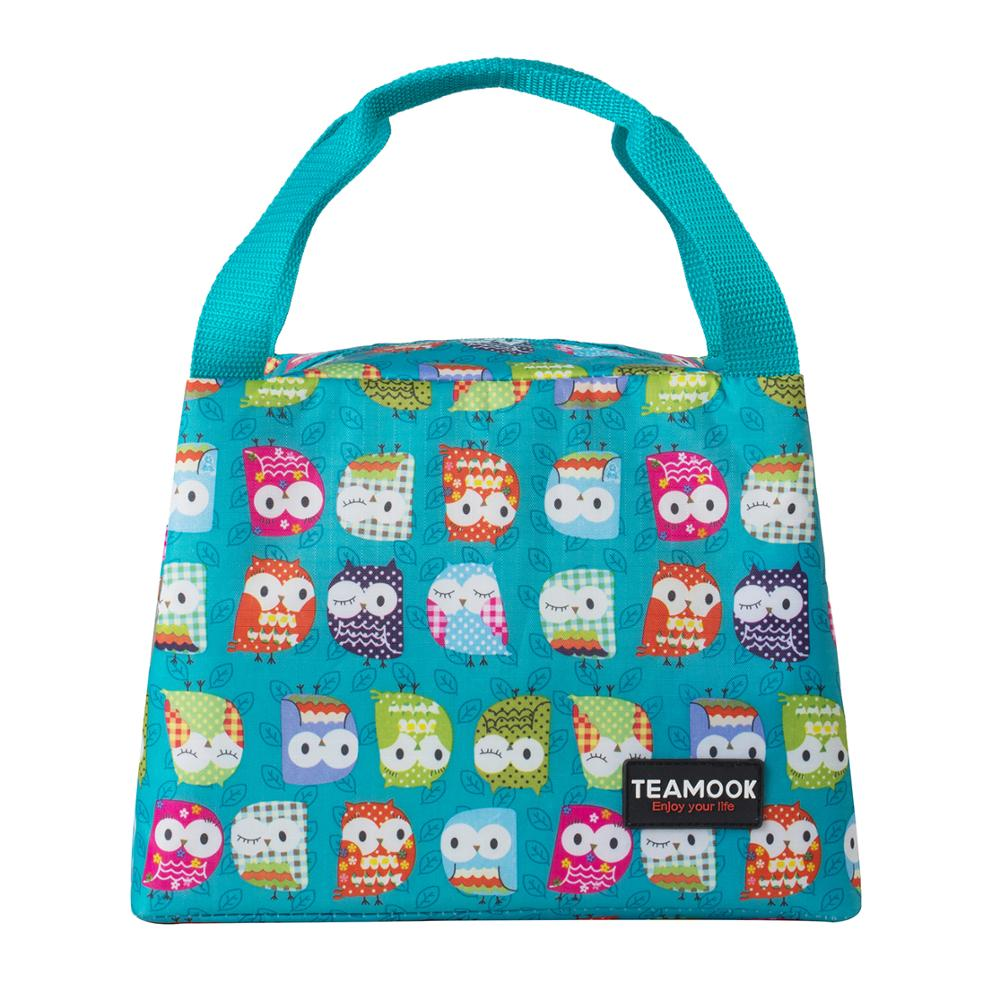 TEAMOOK Food Fresh Insulated Thermal Oxford Lunch Bag Waterproof Cooler Leisure Bag Cute Owl Lunch ToteTEAMOOK Food Fresh Insulated Thermal Oxford Lunch Bag Waterproof Cooler Leisure Bag Cute Owl Lunch Tote