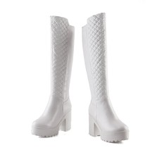 Fashion Spell able zip plain dress knee high boots for women thick high heels boots round toe comfortable shoes