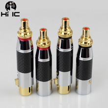 Adaptador de Audio dorado de fibra de carbono, XLR, 3 pines, macho/hembra a RCA, conector Adaptador de Audio hembra, convertidor HIFI compatible