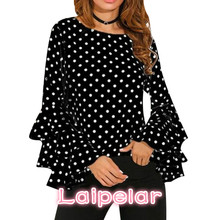 Elegant Polka Dot Print Flare Sleeve Women Blusas Shirts O-neck Long Sleeve Chiffon Blouse Ladies Tops Korean White Black Blouse ethnic plunging neck long sleeve print blouse for women