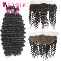 8A Remy Brazilian Deep Wave Virgin Hair Weaves 3 Bundles With Lace Frontal Closure Ear To Ear Human Hair Frontal With Bundles