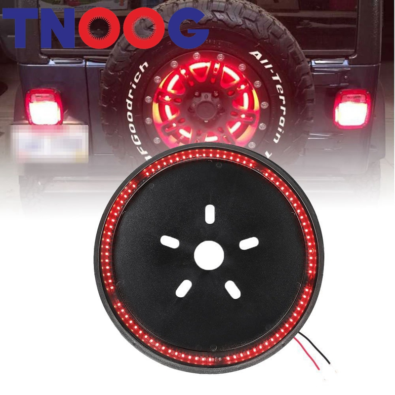 3rd Spare Tire Brake Light LED Ring for 97-17 Jeep Wrangler JK TJ car taillight spare tire led third brake light spare tire cover red warning light for jeep wrangler jk accessories 2007 2017