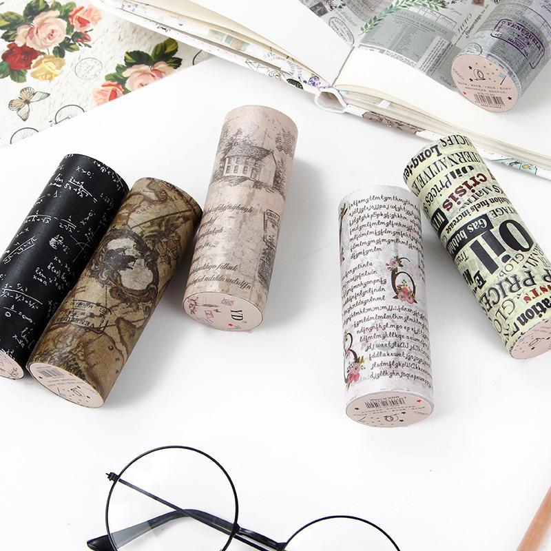100mm*5m Vintage English Postmark Poster Masking Washi Tape Creative DIY Journal Decorative Adhesive Stationery Supplies
