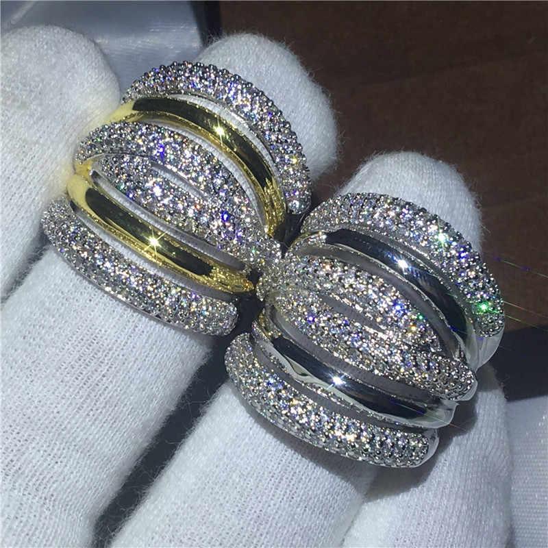 Choucong роскошное большое кольцо Pave setting 5A Циркон Кристалл Желтое Белое Золото Заполненные обручальные кольца для мужчин и женщин