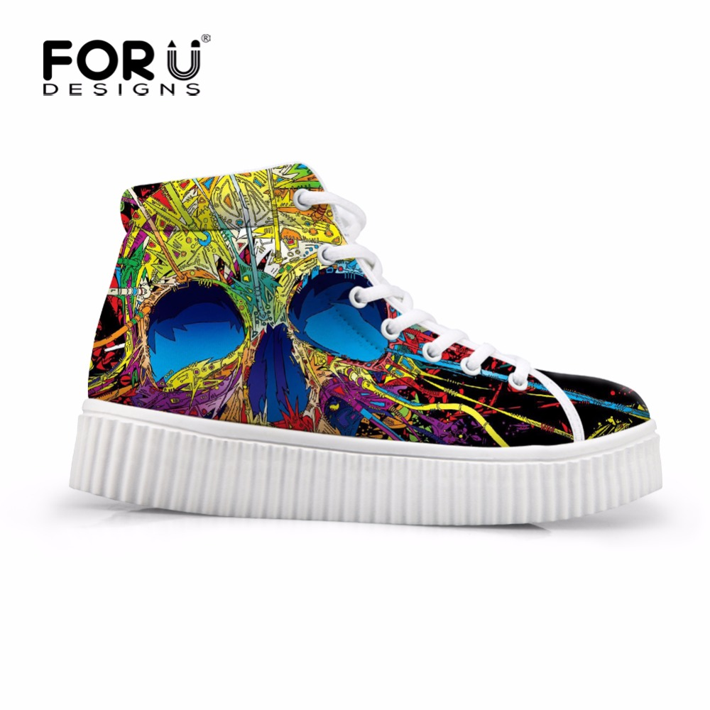FORUDESIGNS Women High Top Casual Flats Shoes Fashion Skull Design Womens Sneaker Platform Female Autumn Boots Ladies Creepers